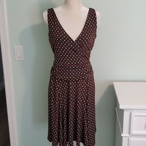 Brown and Teal Sleeveless Dress, Size 6